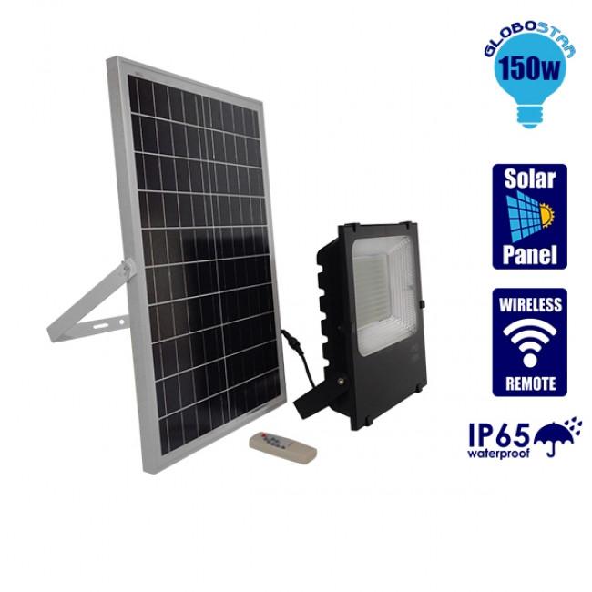 Αυτόνομος Ηλιακός Φωτοβολταϊκός Προβολέας LED 150 Watt IP 65 με Ασύρματο Χειριστήριο Ψυχρό Λευκό 6000k GloboStar 12105