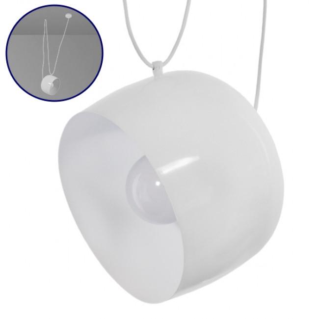 Μοντέρνο Κρεμαστό Φωτιστικό Οροφής Μονόφωτο Μεταλλικό Λευκό Καμπάνα Φ25 GloboStar REDER 01374