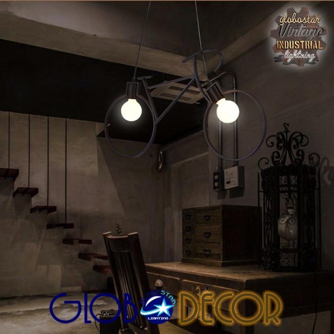 Vintage Κρεμαστό Φωτιστικό Οροφής Δίφωτο Μαύρο Μεταλλικό GloboStar BIKE 01213 - 5