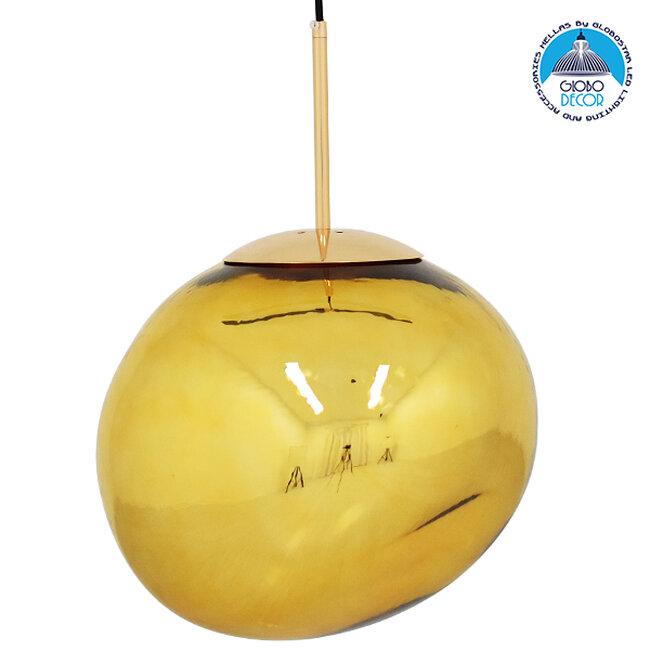 Μοντέρνο Κρεμαστό Φωτιστικό Οροφής Μονόφωτο Γυάλινο Χρυσό Φ36  DIXXON GOLD 01466 - 1