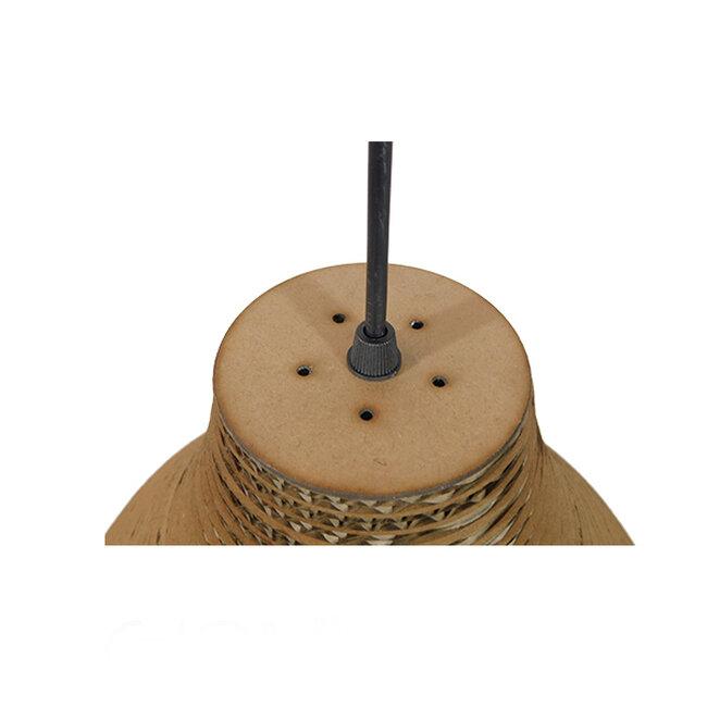 Vintage Κρεμαστό Φωτιστικό Οροφής Μονόφωτο 3D από Επεξεργασμένο Σκληρό Καφέ Χαρτόνι Καμπάνα Φ30  MYKONOS 01292 - 7