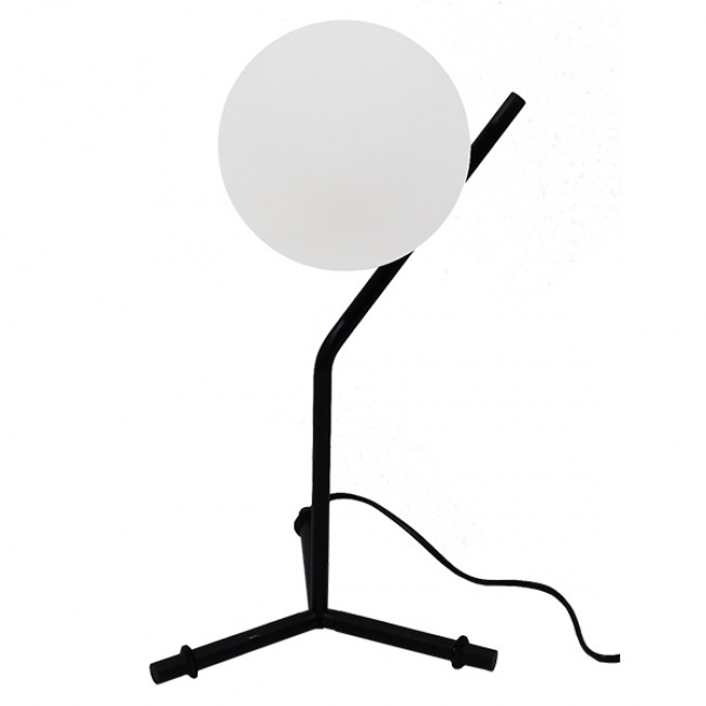 Μοντέρνο Επιτραπέζιο Φωτιστικό Πορτατίφ Μονόφωτο Μαύρο Μεταλλικό με Λευκό Γυαλί Φ23 GloboStar ELFRIS 01100 - 5