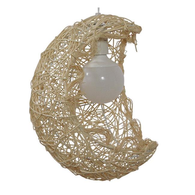 Vintage Κρεμαστό Φωτιστικό Οροφής Μονόφωτο Μπεζ Ξύλινο Ψάθινο Rattan  CRESCENT 01222 - 4