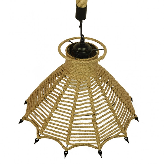 Vintage Κρεμαστό Φωτιστικό Οροφής Μονόφωτο Μπεζ Καμπάνα με Σχοινί Φ41  OZERO 01603 - 7