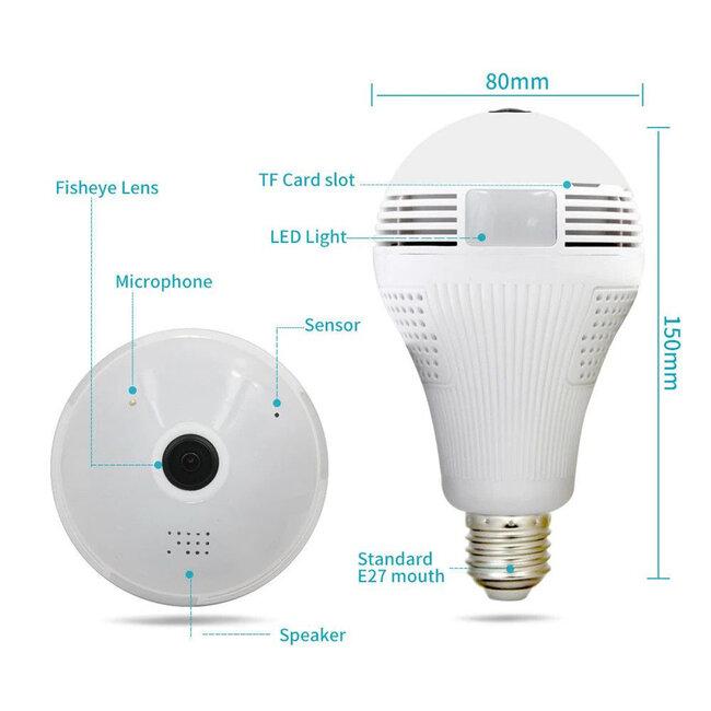 76073 WIFI 2.4G IP CAMERA 2.0MP 1080P - Έξυπνη Κρυφή IP Κάμερα WiFi 1080P Fish Eye 360° 3W LED σε Σχήμα Λάμπας με Ντουί και Βάση E27 Smart Home - 5
