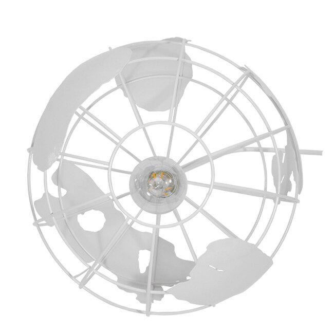 Vintage Industrial Κρεμαστό Φωτιστικό Οροφής Μονόφωτο Λευκό Μεταλλικό Πλέγμα Φ30  LAND 01382 - 6