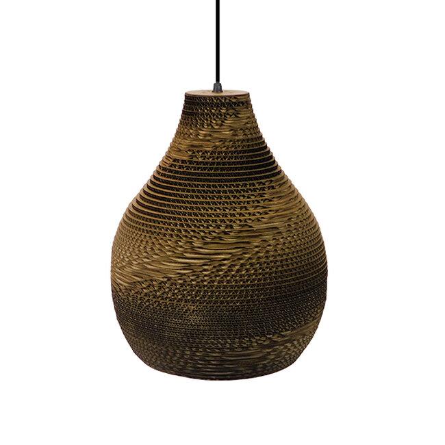 Vintage Κρεμαστό Φωτιστικό Οροφής Μονόφωτο 3D από Επεξεργασμένο Σκληρό Καφέ Χαρτόνι Καμπάνα Φ30  MYKONOS 01292 - 5