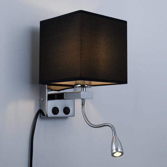 ELEGANT 01494 Μοντέρνο Φωτιστικό Τοίχου Απλίκα Δίφωτο Μεταλλικό με Μαύρο Ύφασμα και Βραχίονα με LED Μ17 x Π21 x Υ43cm - 3