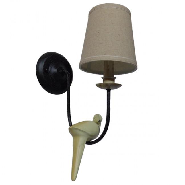 Vintage Φωτιστικό Τοίχου Απλίκα Μονόφωτο Μαύρο Μεταλλικό με Υφασμάτινο Μπεζ Καπέλο Φ16 GloboStar DOVE 01084 - 4