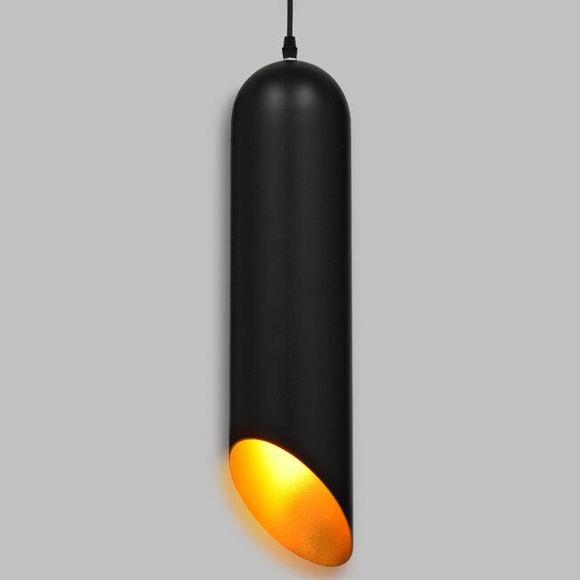 CARSON 01528 Μοντέρνο Κρεμαστό Φωτιστικό Οροφής Μονόφωτο Μαύρο - Χρυσό Μεταλλικό Καμπάνα Φ12 x 52cm - 2