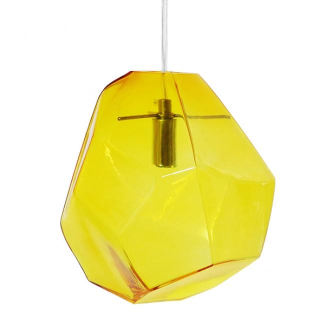 Μοντέρνο Κρεμαστό Φωτιστικό Οροφής Μονόφωτο Γυάλινο Κίτρινο Διάφανο GloboStar RINA 01308 - 3