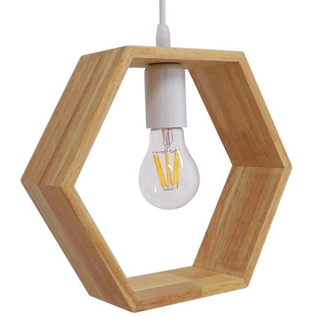 Μοντέρνο Κρεμαστό Φωτιστικό Οροφής Μονόφωτο Μπεζ Ξύλινο Δρυς  ELISE OCTANGLE 01429 - 8