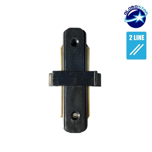 Μονοφασικός Connector 2 Καλωδίων Συνδεσμολογίας Γιώτα (Ι) για Μαύρη Ράγα Οροφής GloboStar 93023