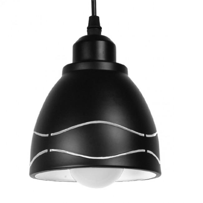 Μοντέρνο Κρεμαστό Φωτιστικό Οροφής Μονόφωτο Μεταλλικό Μαύρο Λευκό Καμπάνα Φ13 GloboStar LAGUNA 01477