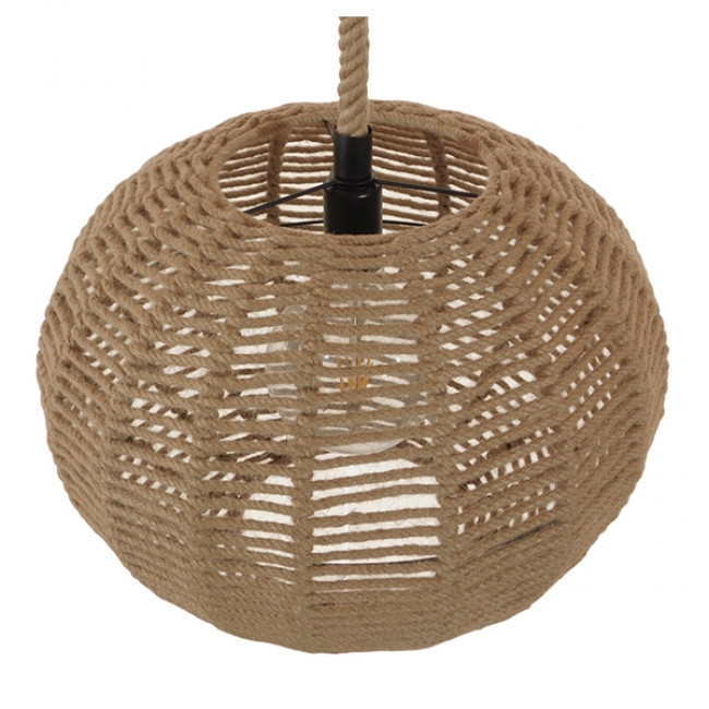 Vintage Κρεμαστό Φωτιστικό Οροφής Μονόφωτο Πλέγμα με Μπεζ Σχοινί Φ42 GloboStar CAPRI 01331 - 6