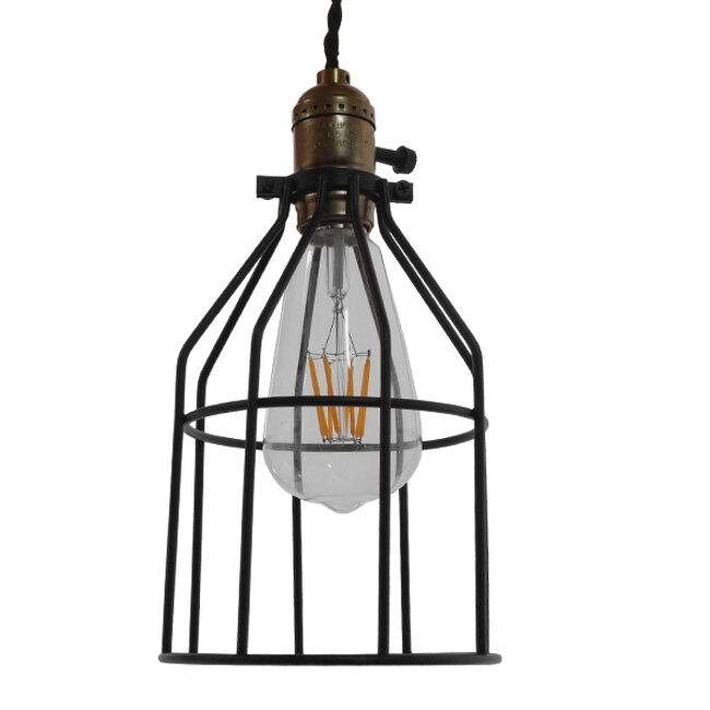Vintage Industrial Κρεμαστό Φωτιστικό Οροφής Μονόφωτο Μαύρο Μεταλλικό Πλέγμα Φ14  GALOT 01179 - 3