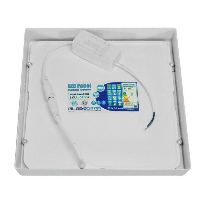 Πάνελ PL LED Οροφής Εξωτερικό Τετράγωνο 20 Watt 230v Ψυχρό GloboStar 01887 - 3