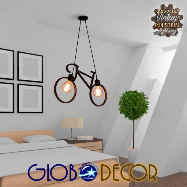 Vintage Κρεμαστό Φωτιστικό Οροφής Δίφωτο Μαύρο Μεταλλικό GloboStar BIKE 01213 - 3