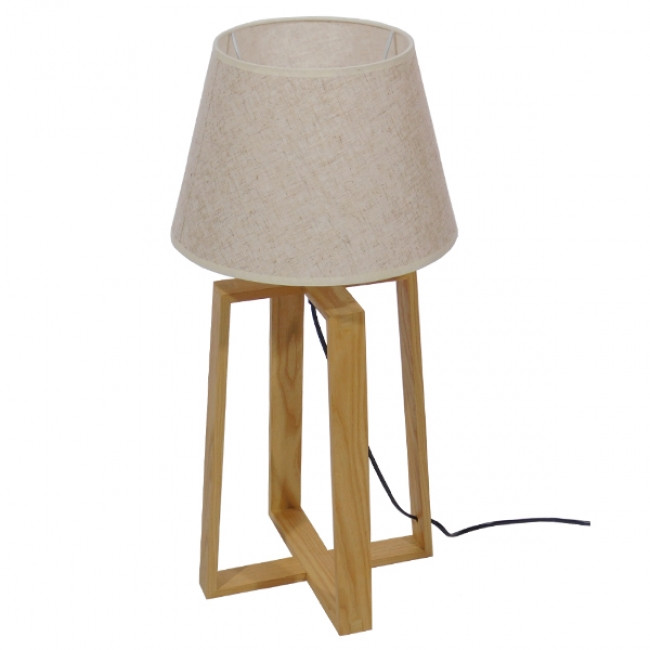 Μοντέρνο Επιτραπέζιο Φωτιστικό Πορτατίφ Μονόφωτο Ξύλινο με Μπεζ Καπέλο Φ30 GloboStar SQUID 01265 - 2