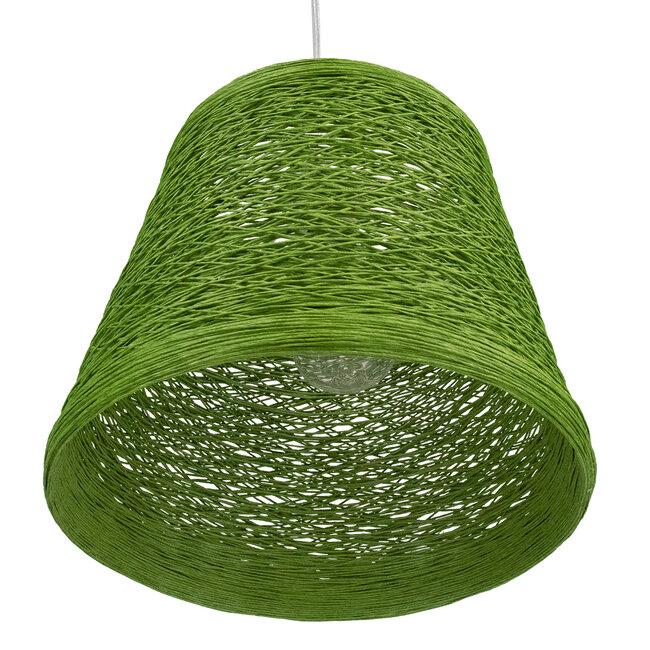 PLAYROOM 00864 Vintage Κρεμαστό Φωτιστικό Οροφής Μονόφωτο Πράσινο Ξύλινο Ψάθινο Rattan Φ32 x Υ27cm - 6