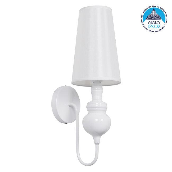 LAURA 01499 Μοντέρνο Φωτιστικό Τοίχου Απλίκα Μονόφωτο Μεταλλικό Λευκό Φ15 x Μ15 x Π21 x Y48cm - 1
