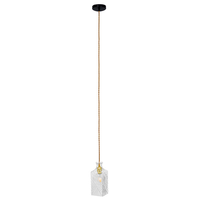 Vintage Κρεμαστό Φωτιστικό Οροφής Μονόφωτο Γυάλινο Διάφανο Φ10  BRANDY 01516 - 3