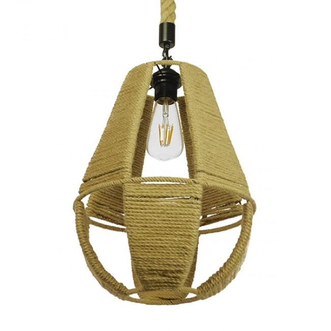 Vintage Κρεμαστό Φωτιστικό Οροφής Μονόφωτο Πλέγμα με Μπεζ Σχοινί Φ30 GloboStar POLIA 01608 - 6