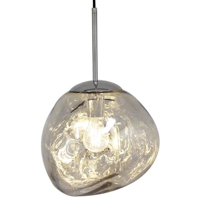 Μοντέρνο Κρεμαστό Φωτιστικό Οροφής Μονόφωτο Γυάλινο Ασημί Νίκελ Φ28  DIXXON CHROME 01460 - 2