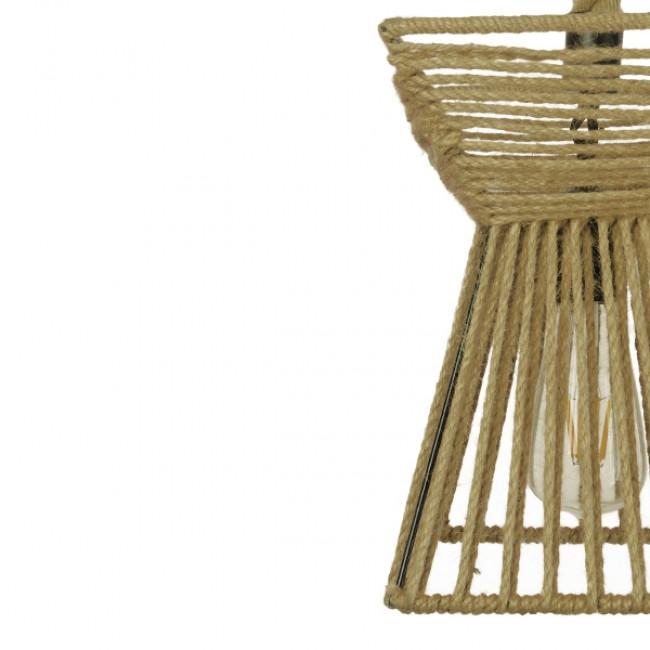 Vintage Κρεμαστό Φωτιστικό Οροφής Μονόφωτο Πλέγμα με Μπεζ Σχοινί Φ21  ROUGE 01611 - 9