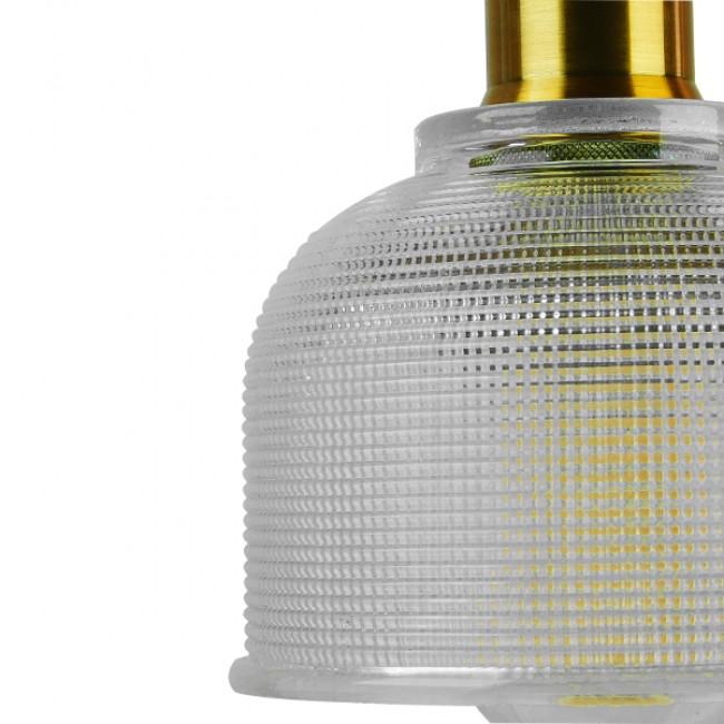 Vintage Κρεμαστό Φωτιστικό Οροφής Μονόφωτο Γυάλινο Διάφανο Καμπάνα με Χρυσό Ντουί Φ14 GloboStar SEGRETO TRANSPARENT 01447 - 7