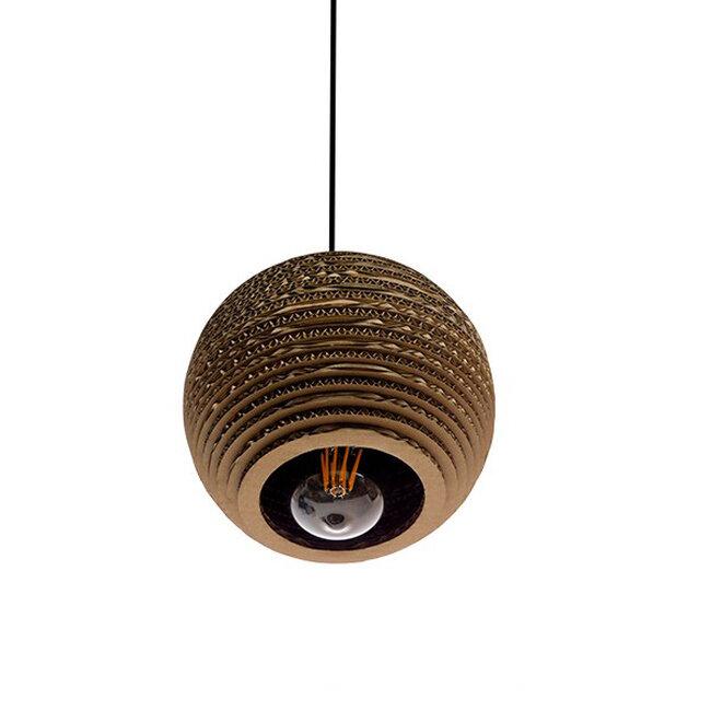 Vintage Κρεμαστό Φωτιστικό Οροφής Μονόφωτο 3D από Επεξεργασμένο Σκληρό Καφέ Χαρτόνι Καμπάνα Φ20  SANTORINI 01288 - 3