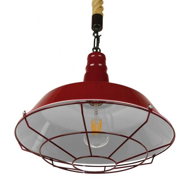 Vintage Industrial Κρεμαστό Φωτιστικό Οροφής Μονόφωτο Μπορντό Κόκκινο Λευκό Μεταλλικό Καμπάνα Πλέγμα με Μπεζ Σχοινί Φ36 GloboStar ISCAR 01410 - 4