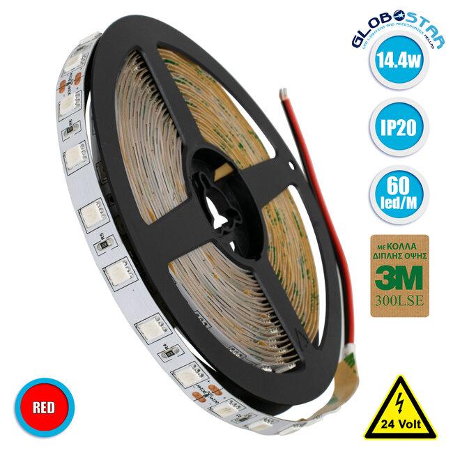 70224 Ταινία LED SMD 5050 5m 14.4W/m 60LED/m 800 lm/m 120° DC 24V IP20 Κόκκινο