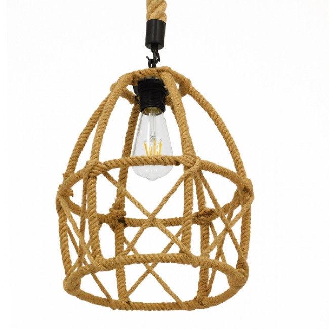 Vintage Κρεμαστό Φωτιστικό Οροφής Μονόφωτο Πλέγμα με Μπεζ Σχοινί Φ30 GloboStar TELAN 01615 - 5