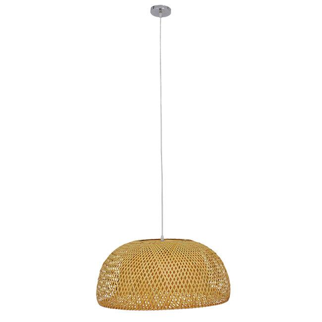 Vintage Κρεμαστό Φωτιστικό Οροφής Μονόφωτο Καφέ Ξύλινο Bamboo Φ60  BERMUDA 01627 - 3