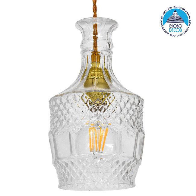 Vintage Κρεμαστό Φωτιστικό Οροφής Μονόφωτο Γυάλινο Διάφανο Φ13  WHISKEY 01513 - 1