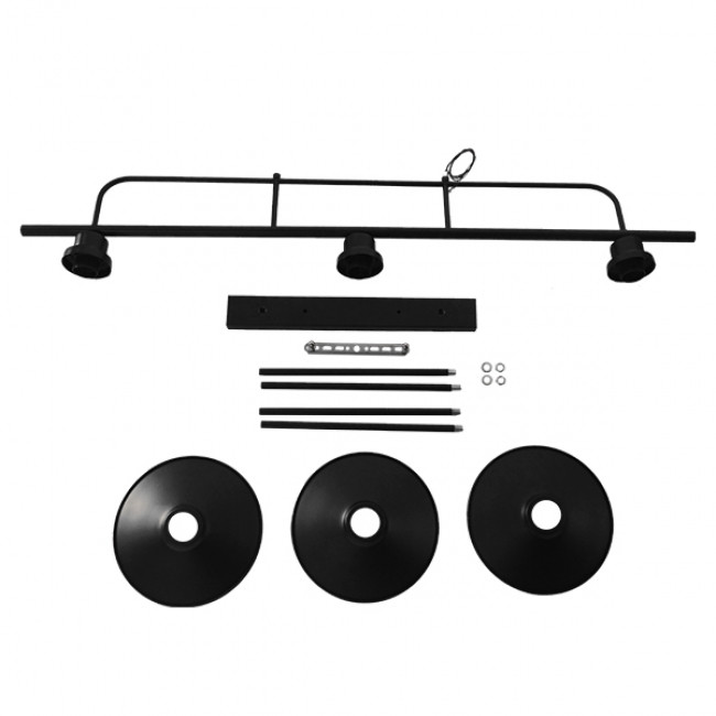 Vintage Industrial Φωτιστικό Οροφής Τρίφωτο Μαύρο Ράγα  BILLIARD BLACK 01009 - 10