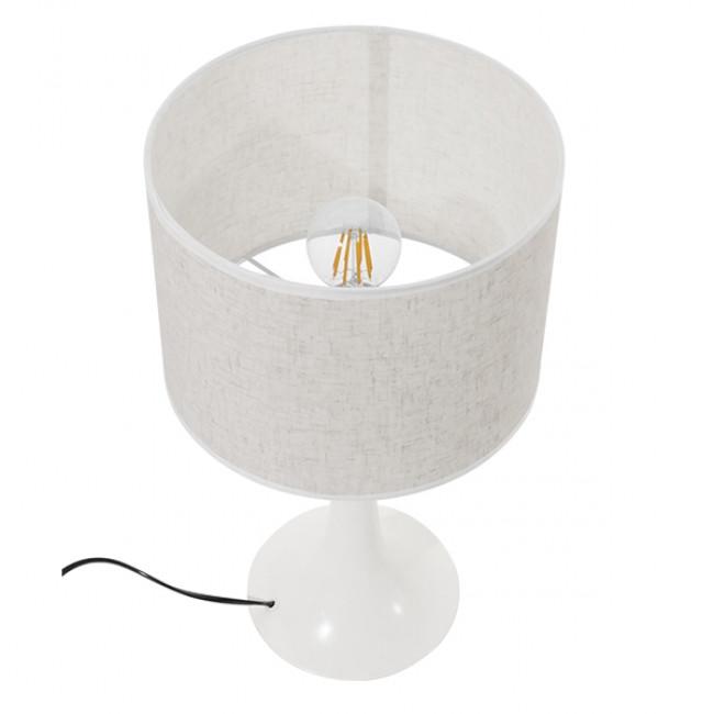 Μοντέρνο Επιτραπέζιο Φωτιστικό Πορτατίφ Μονόφωτο Μεταλλικό με Λευκό Καπέλο Φ25 GloboStar AMBROSIA WHITE 01395 - 5