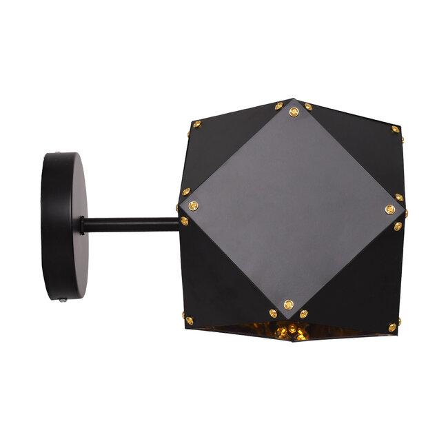 WELLES Replica 00794 Μοντέρνο Φωτιστικό Τοίχου Απλίκα Μονόφωτο Μεταλλικό Μαύρο Χρυσό Μ17 x Π28 x Υ17cm - 3