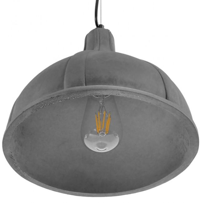 Μοντέρνο Industrial Κρεμαστό Φωτιστικό Οροφής Μονόφωτο Γκρι Τσιμέντο Καμπάνα Φ29 GloboStar GIRARD 01326 - 6