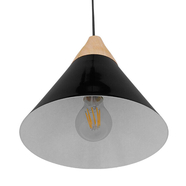 Μοντέρνο Κρεμαστό Φωτιστικό Οροφής Μονόφωτο Μαύρο Μεταλλικό με Ξύλο Καμπάνα Φ23  SHADE BLACK 00906 - 5