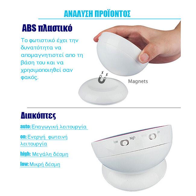 Επαναφορτιζόμενο Φωτιστικό Νυκτός Μπαταρίας LED με Ανιχνευτή Κίνησης και Αισθητήρα Μέρας Νύχτας Μπλε GloboStar 07042 - 5