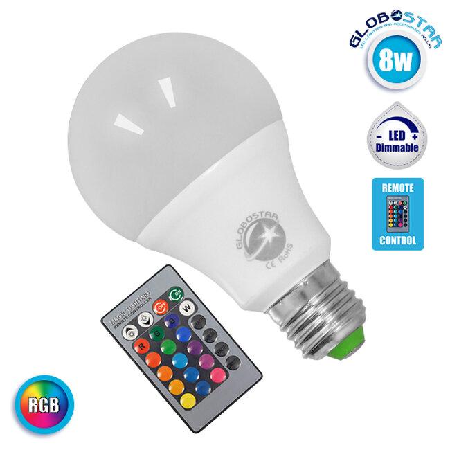 Λαμπτήρας LED E27 Γλόμπος 8 Watt 220 Volt RGB με Ασύρματο Χειριστήριο  88964 - 1