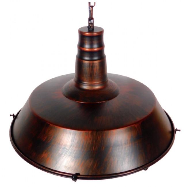 Vintage Industrial Κρεμαστό Φωτιστικό Οροφής Μονόφωτο Καφέ Σκουριά Μεταλλικό Καμπάνα Φ46 GloboStar BARN IRON RUST 01045 - 5