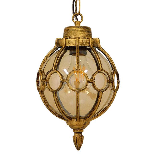Vintage Κρεμαστό Φωτιστικό Οροφής Μονόφωτο Μπρονζέ Χρυσό Μεταλλικό Πλέγμα με Μελί Γυαλί Φ18  ETOILE 00988 - 3