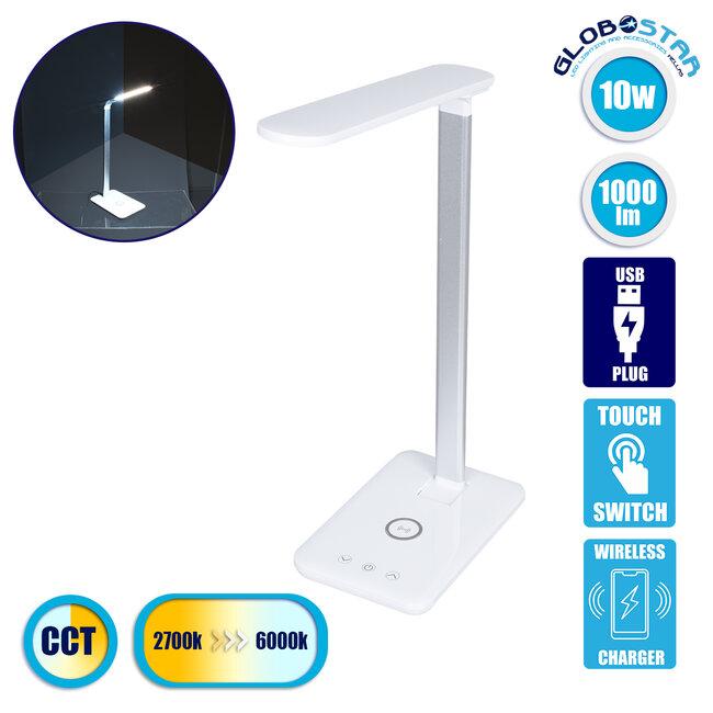 WASP 76532 Μοντέρνο Φωτιστικό Γραφείου Λευκό LED 10 Watt 1000lm DC 5V Αφής & Καλώδιο Τροφοδοσίας USB με Ασύρματη Φόρτιση - Wireless Charger - CCT Θερμό Λευκό 2700K - Φυσικό Λευκό 4500K - Ψυχρό Λευκό 6000K Dimmable - 1