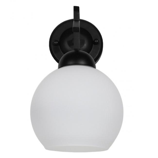 Μοντέρνο Φωτιστικό Τοίχου Απλίκα Μονόφωτο Μαύρο Μεταλλικό με Λευκό Γυαλί Φ15 GloboStar ISEN 01157 - 4