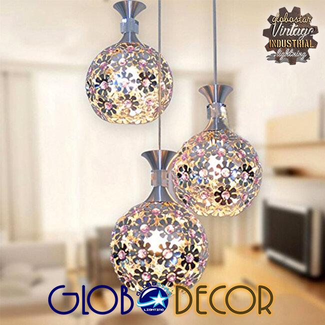 Μοντέρνο Κρεμαστό Φωτιστικό Οροφής Τρίφωτο Ασημί Μεταλλικό με Κρύσταλλα  ILLUME 01249 - 4