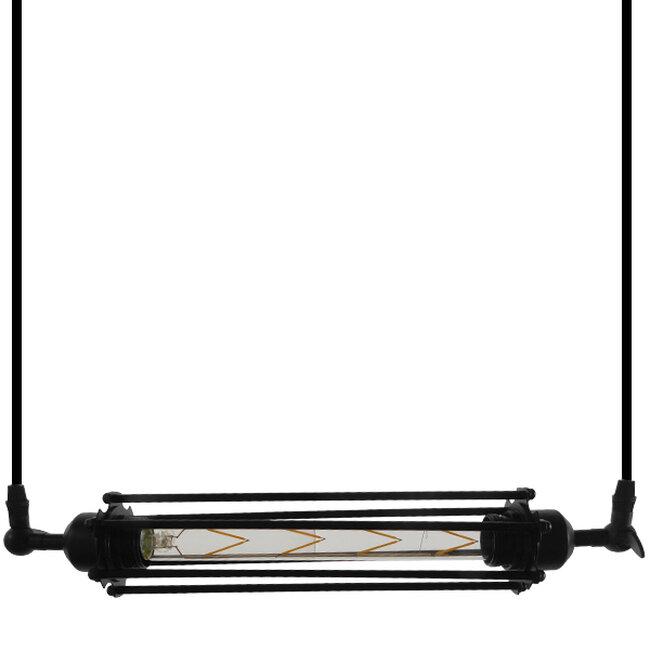 Vintage Industrial Κρεμαστό Φωτιστικό Οροφής Μαύρο Μεταλλικό με Γυαλί  TUBE 01085 - 4