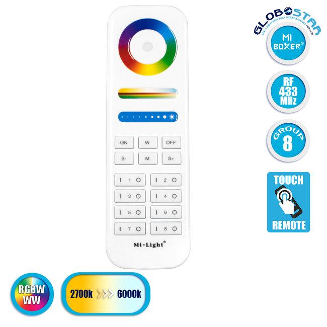73426 Ασύρματο Χειριστήριο Αφής έως 8 Group Wireless RF 2.4Ghz LED RGBW+WW Smart Touch Panel 8-Zone Mi-Light FUT089 433MHz RF 2.4G